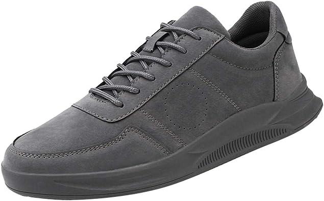 WINLISTING Zapatos de Cordones para Hombre Rebaño Zapatillas Casual Low-Top Antideslizante Running Shoes Atléticos al Aire Libre Zapatos Deportivos Negro Gris Caqui Marrón EU 39-44: Amazon.es: Zapatos y complementos