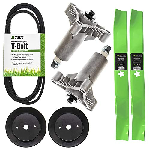 8TEN 42 Inch Deck Heavy Duty Spindle Blade Belt Pulley Kit for Husqvarna LTH 130 YTH 150 Replaces 532130794 532134149 153535 from 8TEN