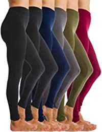 6-Pack Fleece Lined Thick Brushed Leggings Thights by Homma