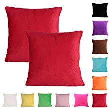 Solid Color Chenille Decorative Pillowcase 2-Piece Cushion Cover for Sofa Throw Pillow Case(20 x 20 inch / 50 x 50 cm,Red)