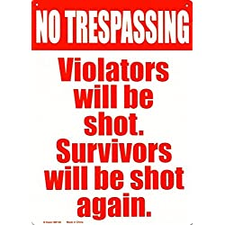 No Trespassing Tin Sign 8 x 12in