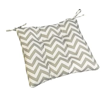 Superieur Gray / Grey And White Chevron / Zig Zag Universal Tufted Seat Cushion With  Ties For