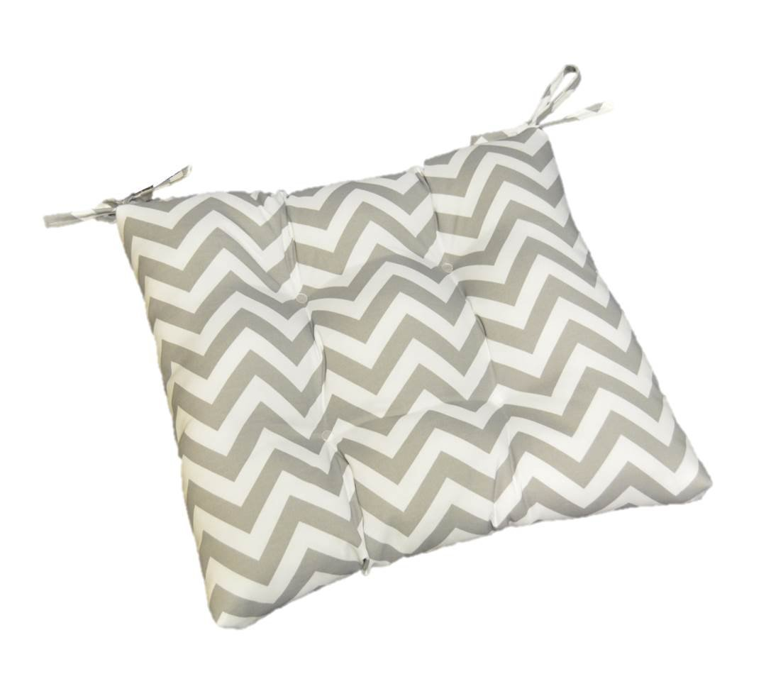Gray / Grey and White Chevron / Zig Zag Universal Tufted Seat Cushion with Ties for Dining Patio Chair - Choose Size (16'' x 16'')