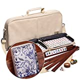 Yellow Mountain Imports American Mahjong (Mah Jong, Mahjongg, Mah-Jongg, Mah Jongg) Set with 166 Tiles, 4 All-in-One Racks with Pushers, Accessories, and Soft Leatherette Case, ''Chinoise''