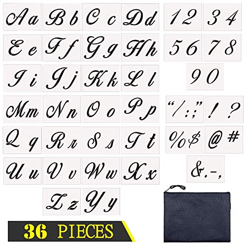 Letter Stencils 36 Pieces | Contains 26 Calligraphy