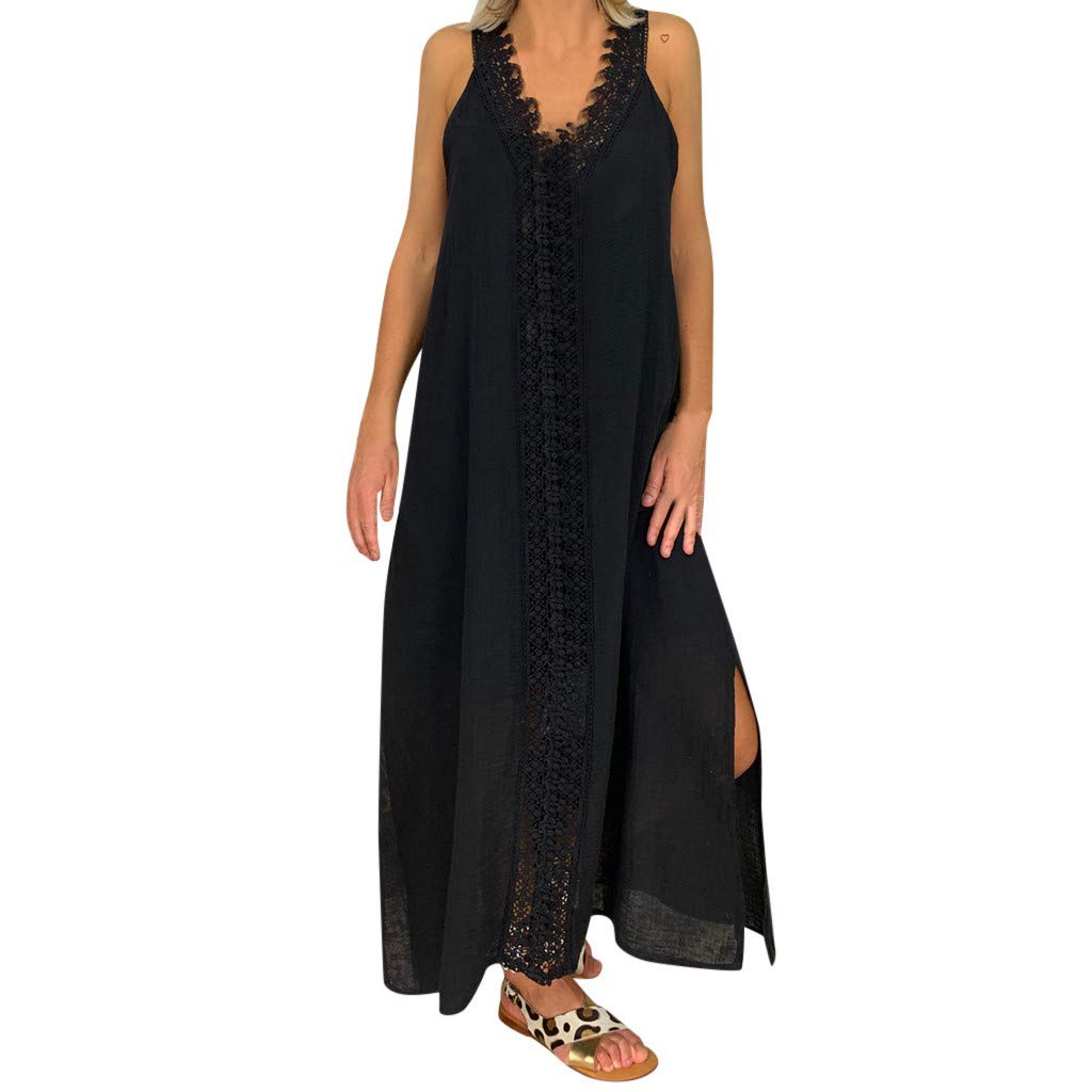 Gocheaper Womens Solid Off Shoulder Sleeveless Party Bodycon Lace Long Dress(Black,L=US: 8)