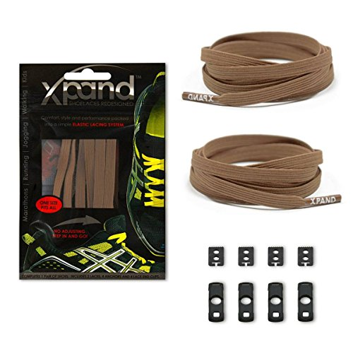 Xpand No Tie Shoelaces System with Elastic Laces - Sand - One Size Fits All Adult and Kids Shoes ()
