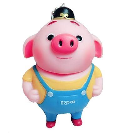 The Pig - Llavero de piel con diseño de cerdito zhu bajie ...