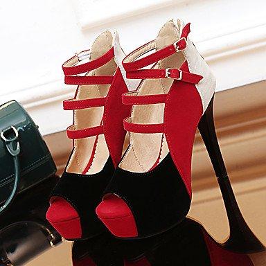 LvYuan Tacón Stiletto-Innovador-Sandalias-Oficina y Trabajo Vestido Fiesta y Noche-Vellón-Azul Amarillo Rojo Red