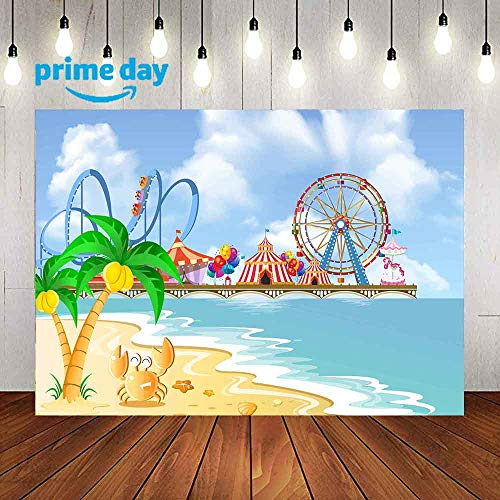 Photography Backdrop for Birthday Party, 9x6FT, Summer Ferris Wheel Roller Coaster Background, Children Kids Baby Session Party Portraits LUP592