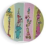 6'' Ceramic Decorative Plate Nursery Vintage Children Banner Set Animals Safari Palm Tree Flowers Princess Mushroom
