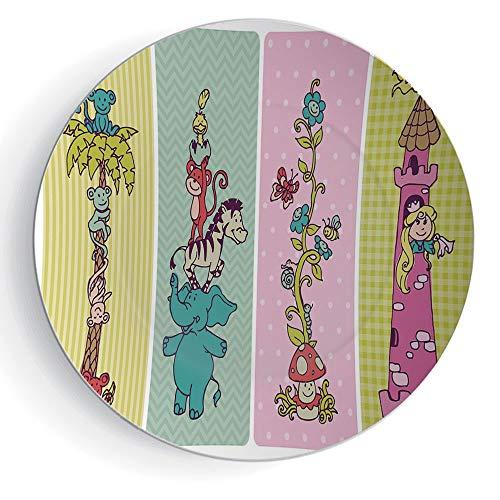 6'' Ceramic Decorative Plate Nursery Vintage Children Banner Set Animals Safari Palm Tree Flowers Princess Mushroom by iPrint