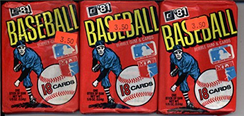 3 Unopened Packs of 1981 Donruss Baseball Cards (18 cards/pack) - 1st Year of Donruss! Look for rookies and hall of fame cards!