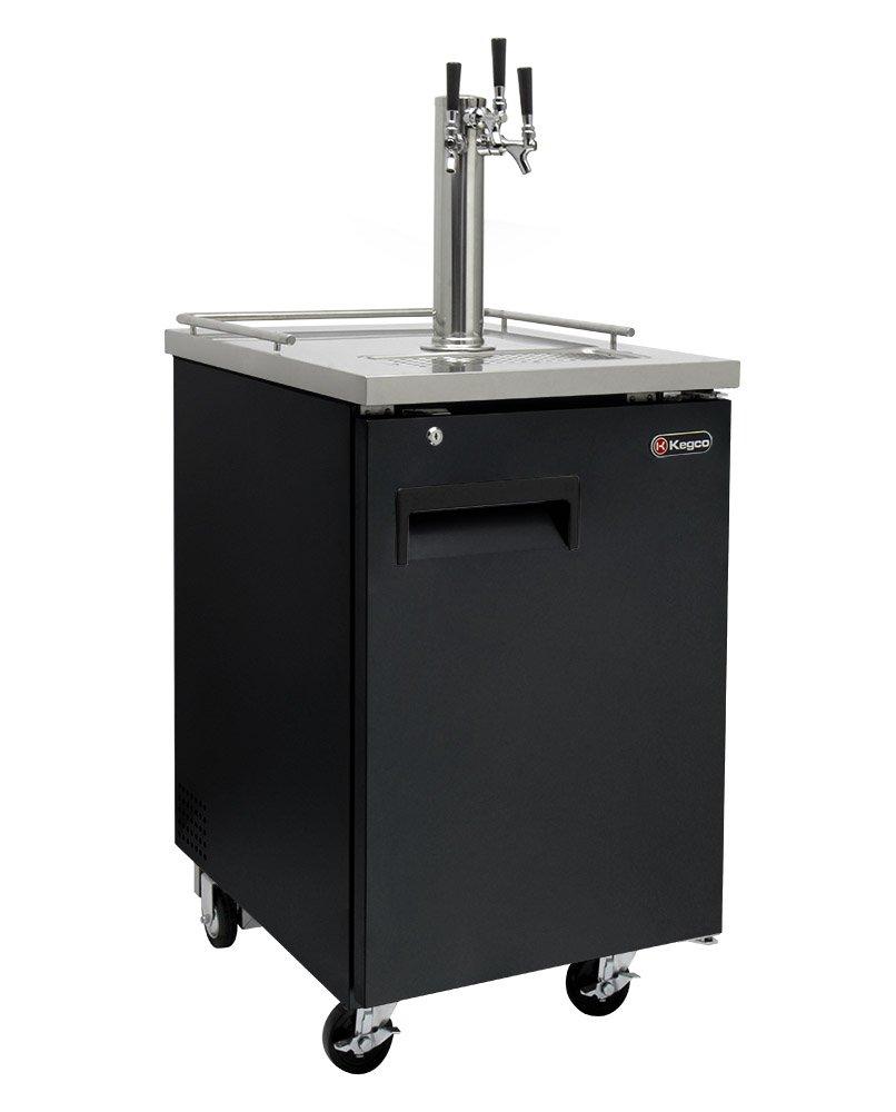 Kegco Three Faucet Commercial Direct Draw Beer Dispenser Black Kegerator Keg Cooler XCK-1B-3