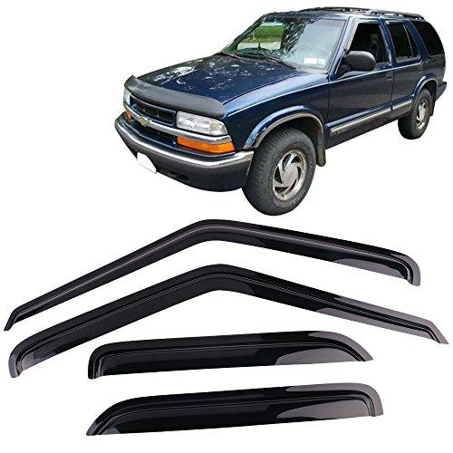 Window Visor Fits 1995-2005 GMC S15 Jimmy Chevy S10 Blazer | Slim Style Dark Smoke Tint Acrylic Rain Sun Guard Wind Vent Air Deflector by IKON MOTORSPORTS | 1996 1997 1998 1999 2000 2001 2002 2003 ()