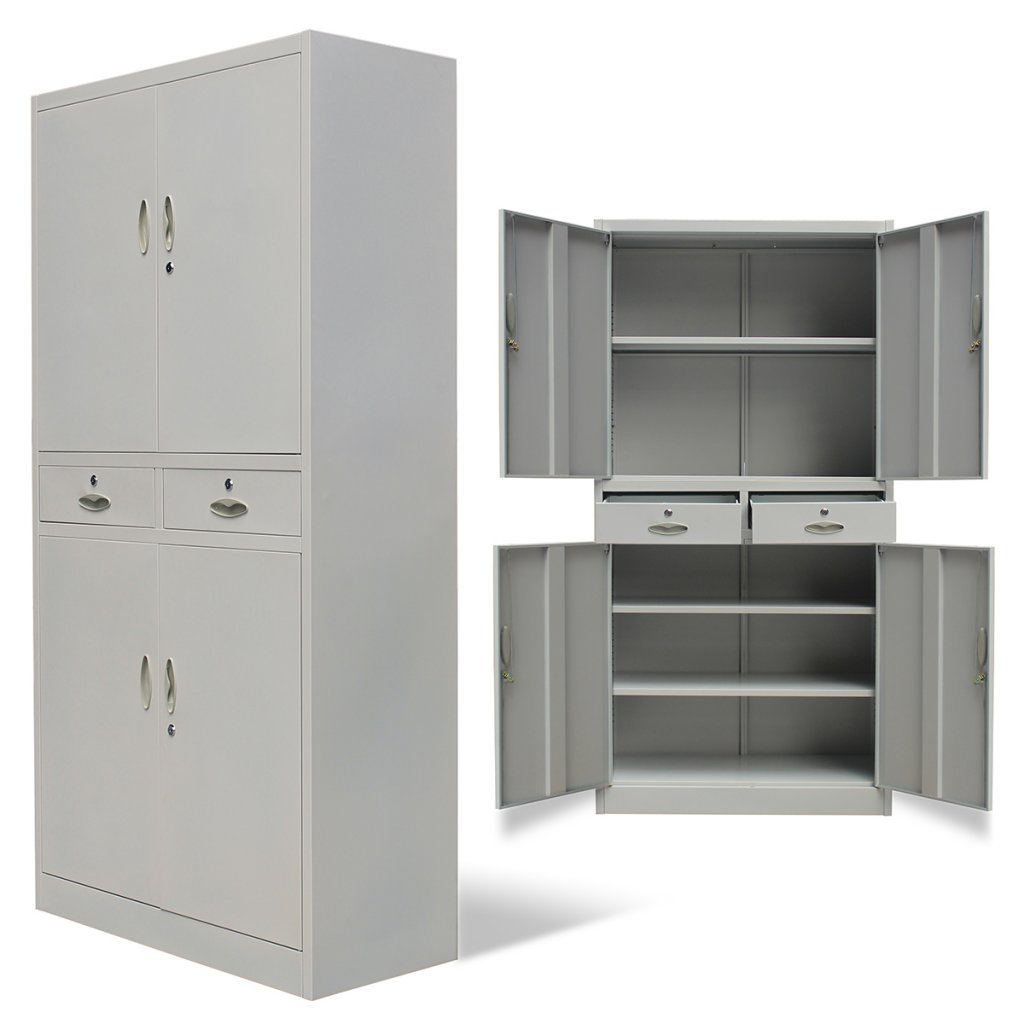Festnight 4 Doors Metal Office Cabinet with 2 Drawers,35.4'' x 15.7'' x 71'', Gray