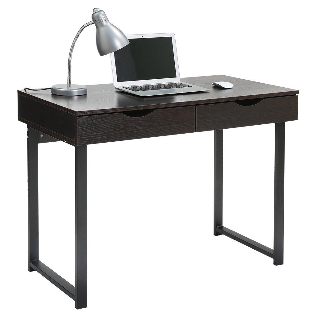 Black Table Desk Part - 32: Amazon.com: LANGRIA Modern Computer Desk Home Office Desk PC Latop Study  Table Workstation Writing Desk Black Desk With 2 Drawers, Easy Assembly, ...