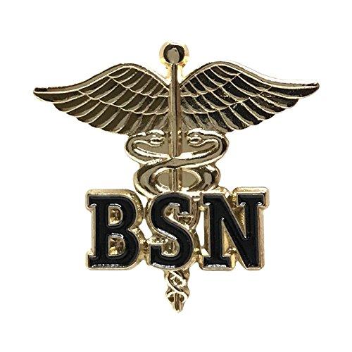 - Bachelor of Science in Nursing Emblem Lapel Pin - Letters on Caduceus Brooch - BSN Medical Ceremonie Clip (BSN)