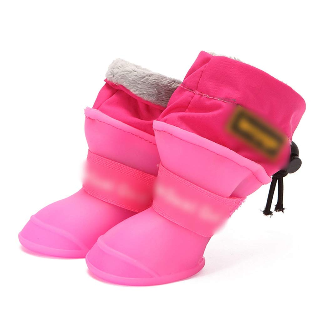 Pink M Pink M Sububblepper Dog shoes Waterproof Rain Boots Pet Rain Boots Small Dog Silicone Pet Rain Boots Non-Slip Waterproof shoes (color   Pink, Size   M)