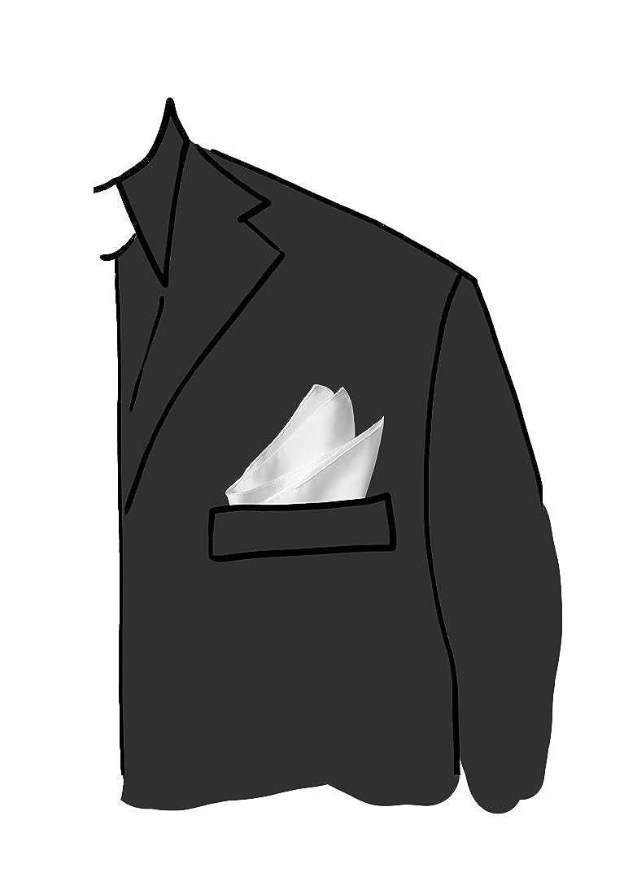 pochette raso di poly unito bianco mis 30 x 30 pochette per Giacca