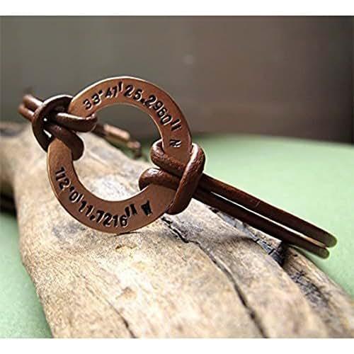 amazoncom custom leather washer bracelet latitude