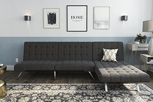 DHP Emily Sectional Futon Sofa with Convertible Chaise Lounger, Grey Linen (Futon Sofa Bed With Chaise)