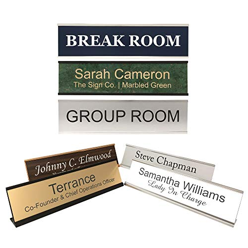 - Personalized Office Name Plate Sign with Aluminum Wall or Desk Holder - 2x8 - Customize