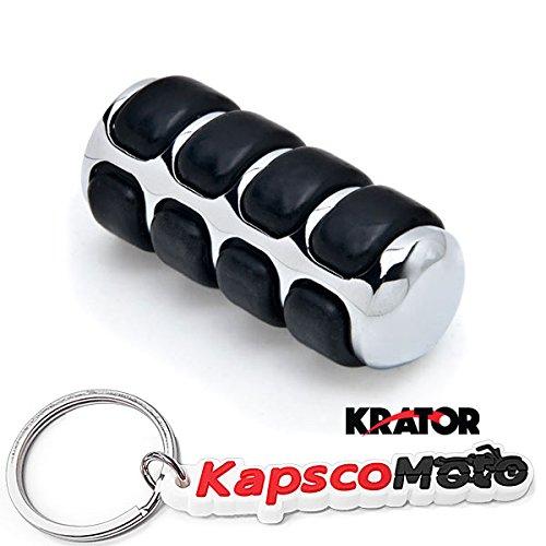 Krator New Chrome Round Shift Peg Cover Brake Toe Heel Shifter Pedal Pad Black Rubber Shift Peg Cover Brake Toe Heel Shifter Pedal Pad + KapscoMoto Keychain
