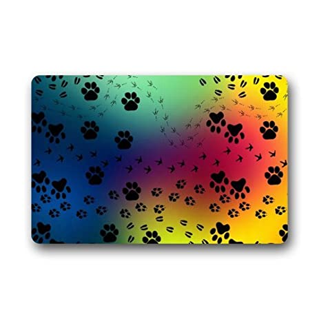Door Mat Abstract Colorful Galaxy Animal Dog Paw Print Pattern Doormat Rug  Indoor/Outdoor/