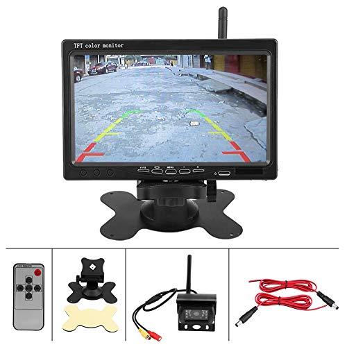 Monitor de 7 pulgadas Inalámbrico IR, visión trasera del coche, marcha atrás, estacionamiento de la cámara de visión...