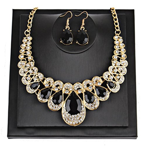Botrong Crystal Necklace Water drops Earrings Necklace Jewelry Set (Black) - African White Gold Ring