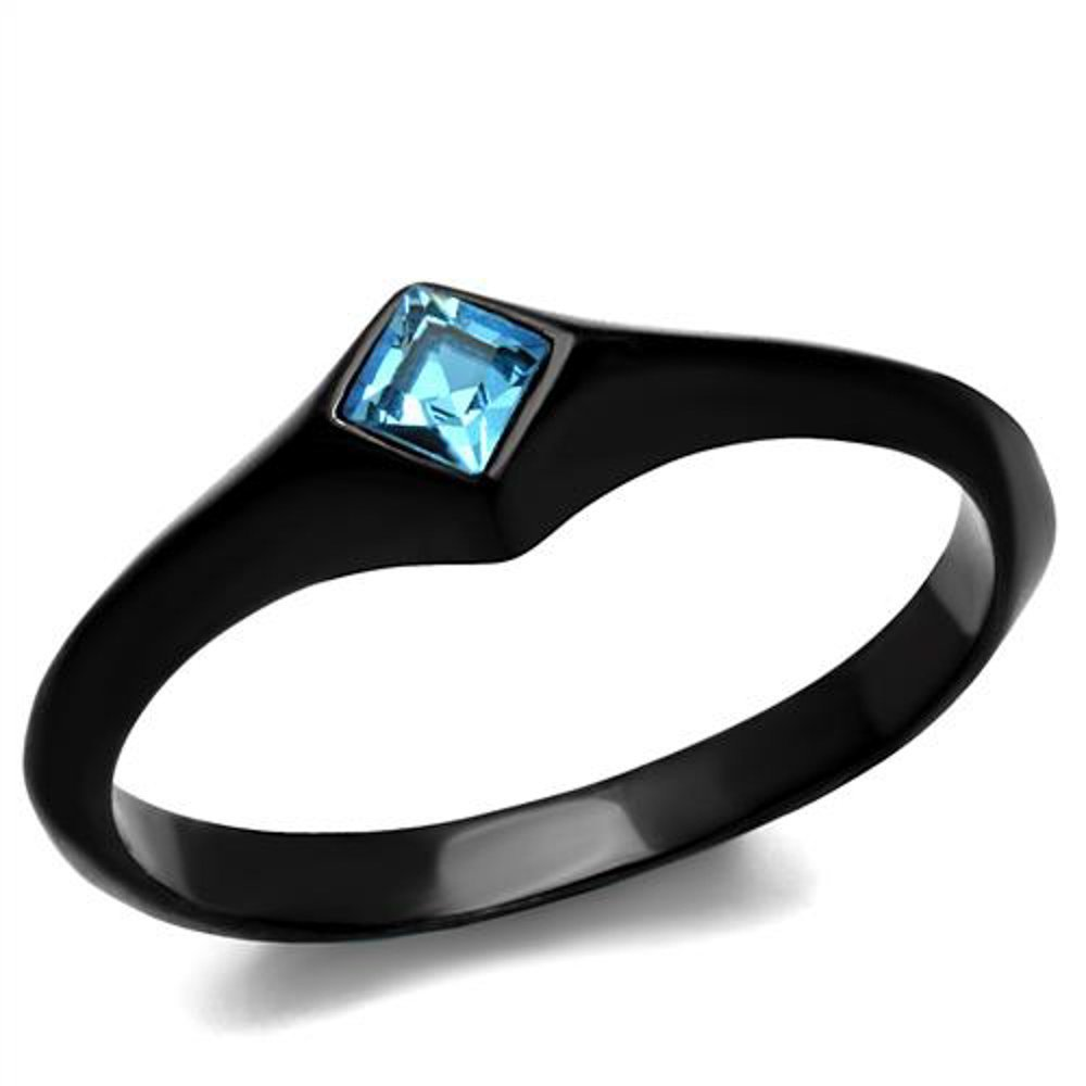 Women Princess Cut Sea Blue Cubic Zirconia Stainless Steel Black Engagement Ring Marimor Jewelry ARTK2284