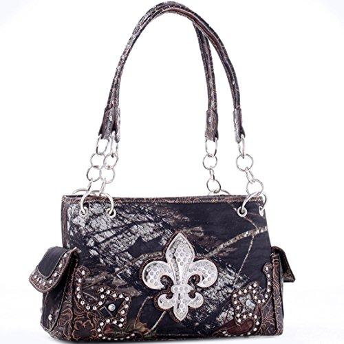 Mossy Oak Western Studded Camouflage Handbag Shoulder Bag with Rhinestone Fleur de Lis & Floral Trim - Camouflage/ Coffee Trim