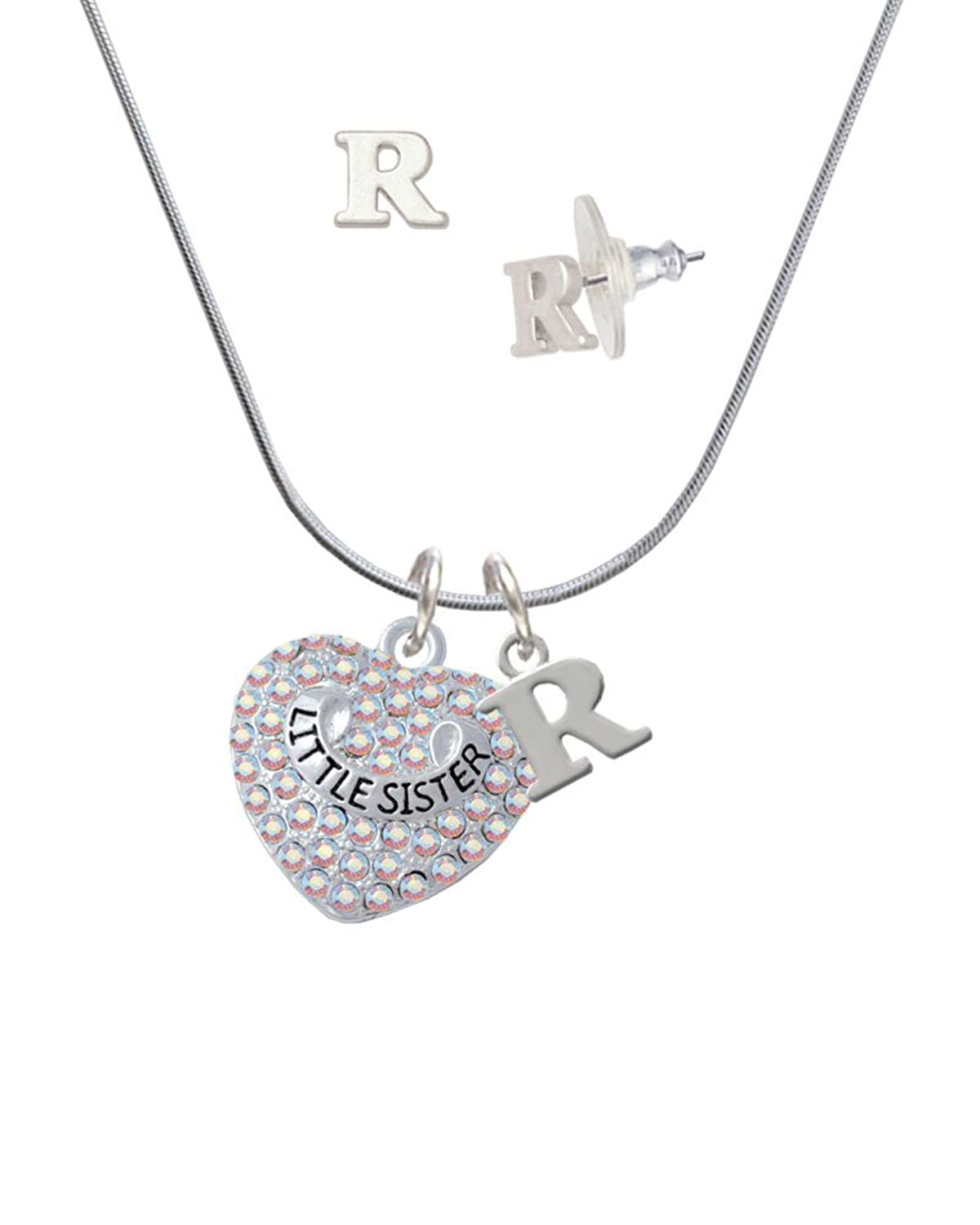 Little Sister on AB Crystal Heart - R Initial Charm Necklace and Stud Earrings Jewelry Set