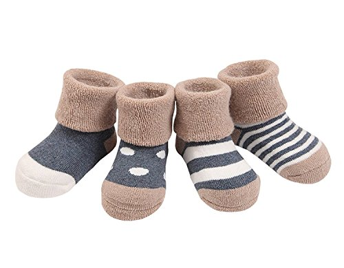 Admireme Baby Socks 4-pack Non-Skid Turn Cuff Infant Baby Socks For Toddler Girls Boys Christmas (Turn Cuffs Non Skid)