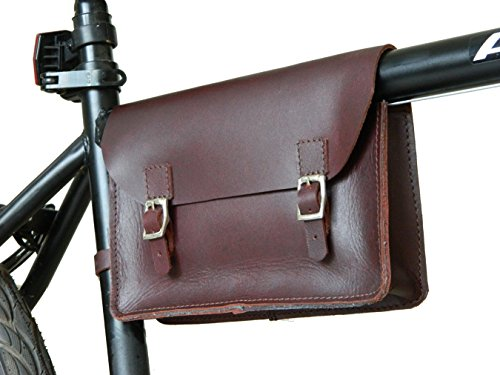 Vintage Raleigh Bike (Bicycle frame bag genuine leather vintage bag small pouch tool kit Cherry)