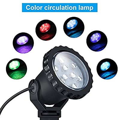 COVOART Color Changing LED Landscape Lights 8W Landscape Lighting IP66 Waterproof LED Garden Pathway Lights Walls Trees Outdoor Spotlights with Spike Stand, Outdoor Landscaping Lights, 4 Pack