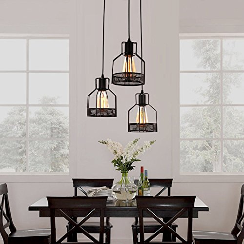 Dining Room Light Fixtures (Unitary Brand Rustic Black Metal Cage Shade Dining Room Pendant Light with 3 E26 Bulb Sockets 120W Painted Finish)