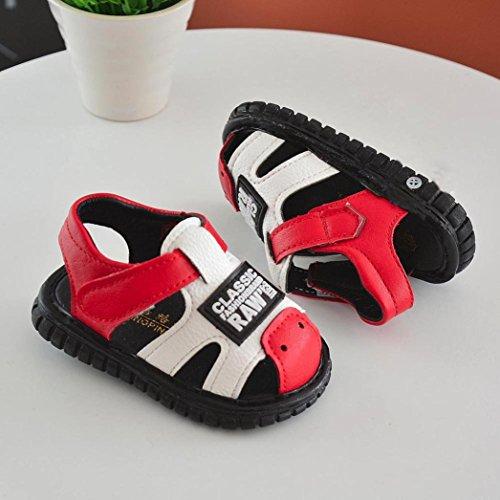 Jamicy® Neugeborenes Baby Jungen Mädchen Brief Drucken Anti-Rutsch-Weiche Sohle quietschende Casual Sandalen Schuhe Rot
