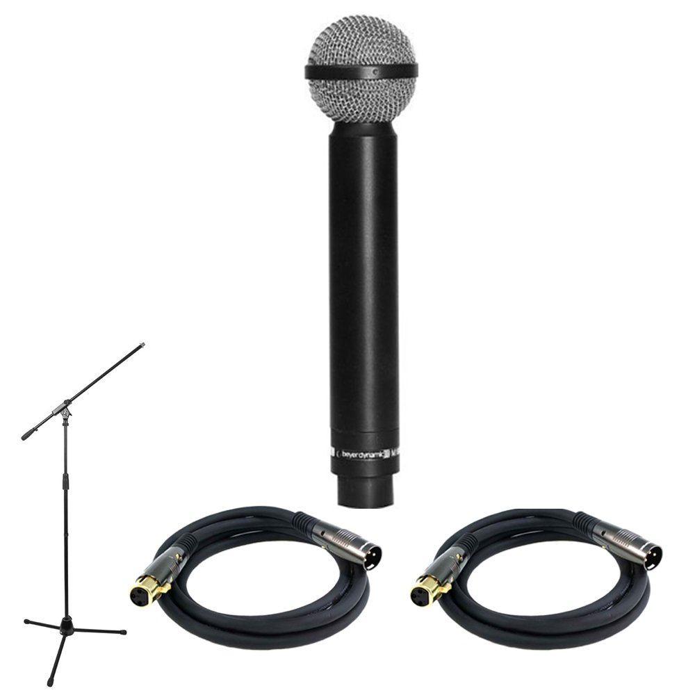 BeyerDynamic M160 Legendary Hypercardioid Double Ribbon Microphone (100668) with Professional Microphone Stand with Boom & 2x Premier Series XLR Male to XLR Female 16AWG Cable, Gold Plated, 10'