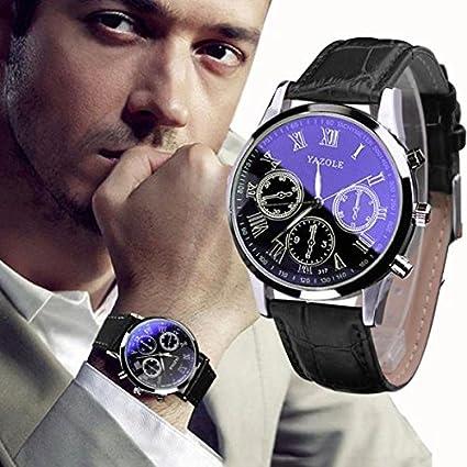Yesmile Reloje❤️Relojes de Pulsera de Relojes Analógicos de Cuarzo de Cristal Azul de Lujo Para Hombres de Cuero de Lujo YAZOLE (Negro)