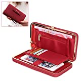 Women's Clutch Wallet Purse Ladies Handbag Case - Aeeque PU Leather Smartphone Cover Multifunctional Bowknot Money Bag for Galaxy J7 J3 S8 S7 S6/ iPhone 7 6 Plus with Card Holder Wristlet Strap