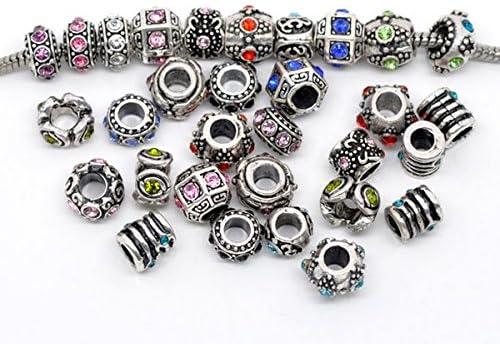PandoreSecrets : Lot de 10 perles , pour les bracelets de style Pandora. -  Motifs Mix