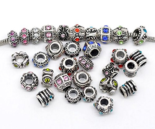 PandoreSecrets  Lot de 10 perles , pour les bracelets de style Pandora. , Motifs Mix Amazon.fr Bijoux