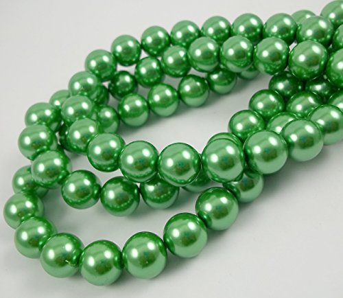 Olive Green Glass Beads - Glass Pearl Finish Round Tiny Beads Green Olive for Handmade Jewerly Necklace Bracelet Beading Supplies faux pearls TOP quality C42 (6mm)