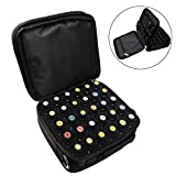 BestFire 42-Bottle Essential Oils Carrying Case Shockproof Essential Oils Display Organizer Travel Bag with Foam Insert, Shoulder Strap Sturdy Double Zipper - Holds 5ml, 10ml, 15ml Bottles (Black)