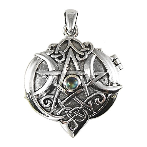Sterling Silver Celtic Knot Heart Pentacle Locket with Natural Rainbow Moonstone