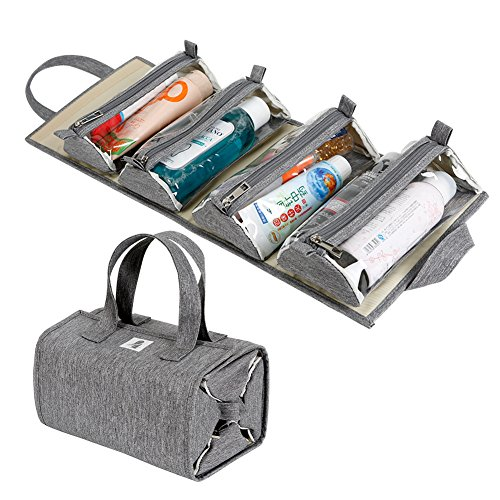 (Hanging Roll-Up Makeup Bag / Toiletry Kit / Travel Organizer for Women - 4 Removable Storage Bags - Organize Make Up, Cosmetics, First Aid, Medicine, Personal Care, Bathroom, Palette / Brush Holder)