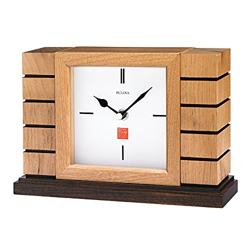 Bulova B1659 Usonian II Mantel Clock, Natural Finish with Walnut Stain Base