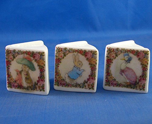 Porcelain China Collectable - Miniature Book Thimbles Set of Three - Beatrix Potter Vintage